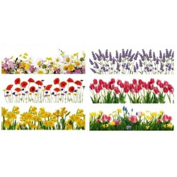 AN - 836 Zmršťovacie fólie sada 12 kusov jarné kvety