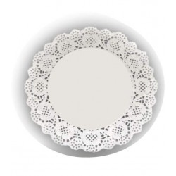 HD-611170 Biele krajky okrúhle 21,5cm/24ks