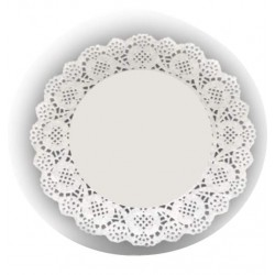 HD-611171 Biele krajky okrúhle 26,5cm/24ks