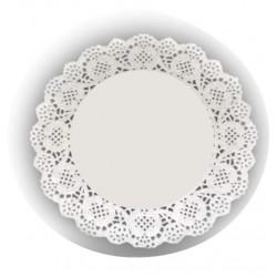HD-613734 Biele krajky okrúhle 26,5cm/12ks