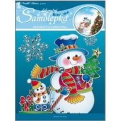 AN-10055 dekorácia vianoce 18x18cm strieborná kontúrka