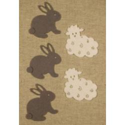 CFA-404 Zajace a ovce filc 5ks 5x4cm