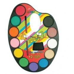 ES-830035 Vodové farby paleta 12ks - 28mm