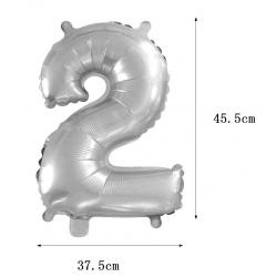 PF-20254  Číslo 2 strieborný balón 42cm
